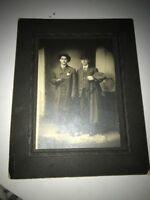Vintage 20s Or 30s Photograph Two Sharp Dressed Men Bowler Hat Fur Rug MOB