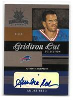 2003 Donruss Gridiron Kings Andre Reed Gridiron Cut Collection Auto Card 040/200