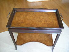 One Of A Kind Maitland Smith Walnut Veneer Serving Tray Stand Table