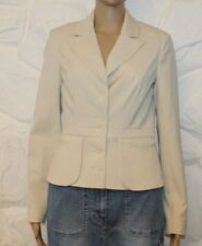 Ivory Fabric VERO MODA Button Fitted Hip Length Casual Jacket Blazer Size 8 / 36