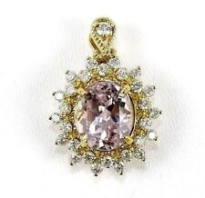 Oval Purple Kunzite & Diamond Solitaire Pendant 14K Yellow Gold 6.33Ct