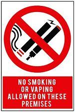 2x ne pas fumer ou vapotage Sécurité Signes D'avertissement Autocollants pour murs, portes, verre.