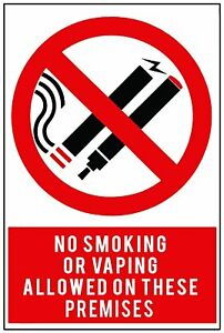 2x NO SMOKING or VAPING SAFETY WARNING SIGNS Stickers for walls, doors, glass.