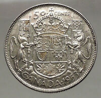 1953 CANADA under Queen Elizabeth II SILVER 50 Cents Canadian Coin Arms i56630