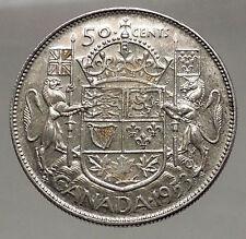 1953 CANADA under Queen Elizabeth II SILVER 50 Cents Canadian Coin Arms i56630