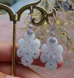 Sterling Silver 0.925 Natural A Jade jadeite Knotted Earrings Dangle 耳环 632197