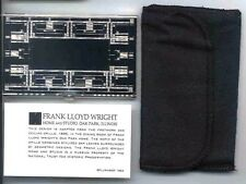 Business Card Case Frank Lloyd Wright Oak Park Design Silver Metal
