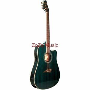 Kona K2 Thin Body 6-String Acoustic Electric Guitar, Transparent Blue K2TBL