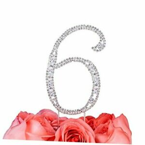 """Gift-Boxed 2.8"""" Rhinestone 6th Number 6 Cake Topper, Super Clear Number 6"""