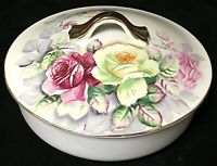 "Vintage Kalk German Porcelain Rose Transfer Gilt Handled Lidded 6"" Bowl Dish"