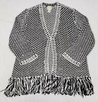 CHICO'S Women's Black & White Crochet 3/4 Sleeve Tassels Jacket Size 1