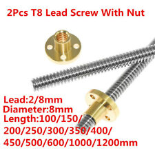 2pcs Acme T8 8mm L100mm 1200mm Thread Lead Screw And Copper Nut Printer Z Axis