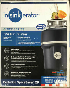 NEW InSinkErator Evolution SpaceSaver XP 3/4 HP Continuous Feed Garbage Disposal