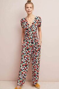 Maeve Anthropologie Imaginarium Black Red Floral Wide Leg Jumpsuit Size M V Neck