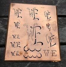 """Monogramm """" WE """" Wäschemonogramm Wäscheschablone Wäschezeichen 11/13 cm KUPFER"""