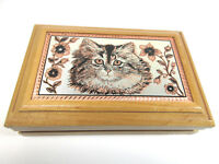 Vintage Kitty Cat Wood Trinket Jewelry Box Etched Metal Hinged Lid Velvet Lined