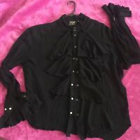 Snap Vintage Shrine Hollywood XL Black Gothic Vampire Victorian Steampunk Shirt