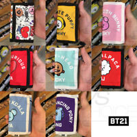 BTS BT21 Official Authentic Goods Folding Wallet + Neck strap Provide track Num