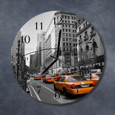 Glass Wall Clock Kitchen Clocks 30 cm round silent Taxi New York Yellow