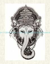 """US SELLER, fake tattoo in sexy Indian god Ganesha 8.25""""large temporary tattoo"""