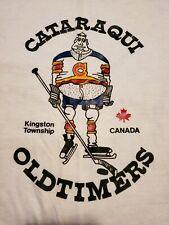 VTG Cataraqui Oldtimers RINGER T SHIRT Original 1970s Kingston Canada Hockey LRG
