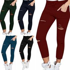 Mujeres Elastizadas Slim Ripped Jeans Estrechos agujero Leggings Pantalones Lápiz Pantalón S-4XL