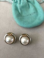 Tiffany & Co. Vintage .925 Sterling Silver 18k Gold Clip Mabe Pearl Earrings