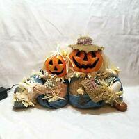 Thanksgiving Halloween Fiber Optic Scarecrow Pumpkin Couple Sitting Gemmy 2004
