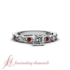 .75 Ctw Asscher Cut Diamond Twisted Milgrain Engagement Ring With Ruby Gemstone