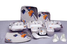 Geeta Diamond Sqaure 24 Pcs Melamine Dinner Set LE-GDS-002,Customized Packing
