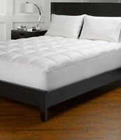 "Comfort Mattress Pad 12"" Deep Pocket Egyptian Cotton White Striped US Cal King"