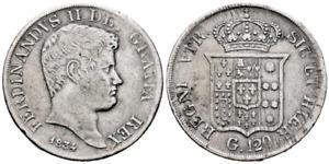 Italia-Ferdinando II. 120 Grana 1834 Nápoles y Sicilia. Plata 27,2 g.