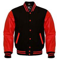 Varsity Bomber Letterman Baseball Black Wool & Red Leather Sleeves jacket