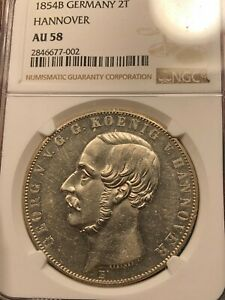 1854-B Germany Hannover 2 Thaler NGC AU-58 UNC Prooflike or proof?