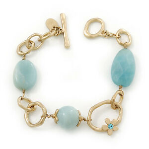 Vintage Inspired Pale Blue Acrylic Bead Hammered Oval Link Bracelet In Gold