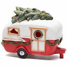 Miniature Red Christmas Camper with Lights