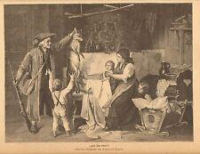 Fox, Hunter, Family Scene, Dead Fox, Vintage 1883 German Antique Art Print