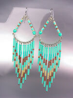 Turquoise Bronze Beads Bohemian Boho Gypsy Peruvian Chandelier Dangle Earrings