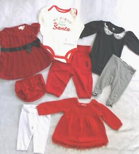 GIRL 0-3-6 M: WINTER SANTA CHRISTMAS 8-Pc RED LOT CARTERS; CAT & JACK; CHEROKEE