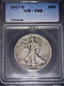 1917-D Walking Liberty Half Dollar, ICG VG8, Tough Date, Obverse, Issue Free.