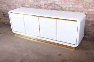 Mid-Century Hollywood Regency White Lacquered Bamboo and Brass Sideboard