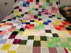 """Beautiful crazy block quilt top  68"""" by 90""""  consists of blocks of 4. 4"""" squares"""