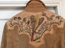 "Vintage CHAR Leather Jacket suede 60's hand painted ""Amazing!"" Large"