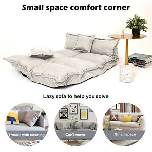 Folding Lazy Sofa Home Office Seat Sofa Couch Beds Lounge W/Armrests & 2 Pillows
