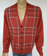 NWT Brooks Brothers Scottish Lambswool Plaid Cardigan Leather Button Men's XL