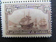 1908 key MNH Canada 20 cent stamp with tab Quebec Tricentenary # 103; CV $625.00