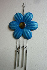 Blue Lower Wind Chime Metal Decoration Spring Garden Patio