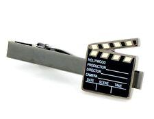 Clapperboard Film Director Movie Producer Tie Clip Silver Black Wedding Clasp
