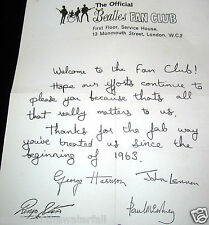 FAN CLUB Letter Autographed by 4 BEATLES Paul McCartney John Lennon Vintage Nice