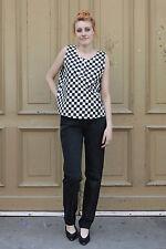 Alte Lagerware NOS Damen Shirt Top 38 weiß schwarz kariert 90er True Vintage 90s